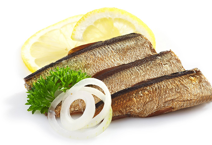 Dishes with sprats in oil